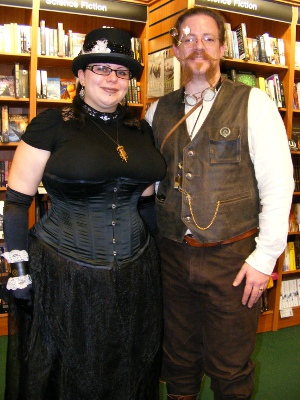 Two people from Hastings Steampunk Society