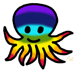 Cartoon rainbow octopus