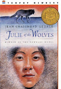 Julie of the Wolves Cover: a yupik girl in a fur-lined coat and a wolf