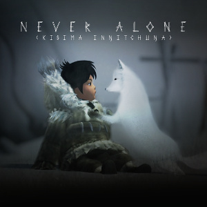 Never Alone Cover: Nuna (a girl in a fur-lined coat) and Fox (white arctic fox) in the snow