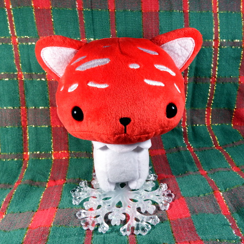 Mushroom cat toy with snowflake ornament